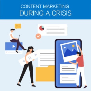 Graphic of people doing content marketing.